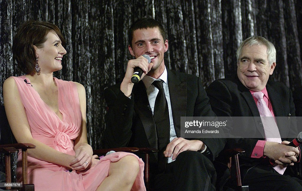 Actors Emily Mortimer, Matthew Goode and Brian Cox participate in a Q&A session at the Variety Screening Series of 'Match Point' at the Arclight Theaters on December 8, 2005 in Hollywood, California.