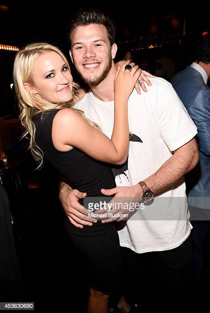 Actors Emily Osment and Jimmy Tatro attend Crackle Presents Summer Premieres Event for originals Sequestered and Cleaners at 1 OAK on August 14 2014...