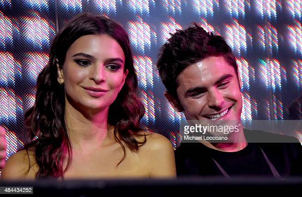 Actors Emily Ratajkowski and Zac Efron attend the 'We Are Your Friends' tour stop photo call and after party at the Marquee on August 18 2015 in New...