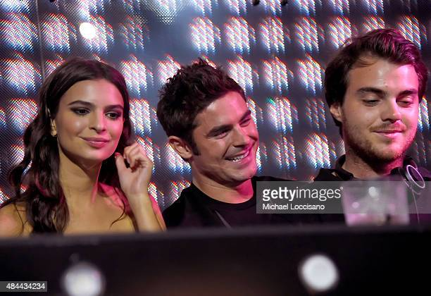 Actors Emily Ratajkowski Zac Efron and DJ Pyramid attend the 'We Are Your Friends' tour stop photo call and after party at the Marquee on August 18...