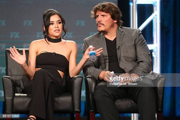 Actors Emily Rios and Sergio PerisMencheta of the television show 'Snowfall' speak onstage during the FX portion of the 2017 Winter Television...