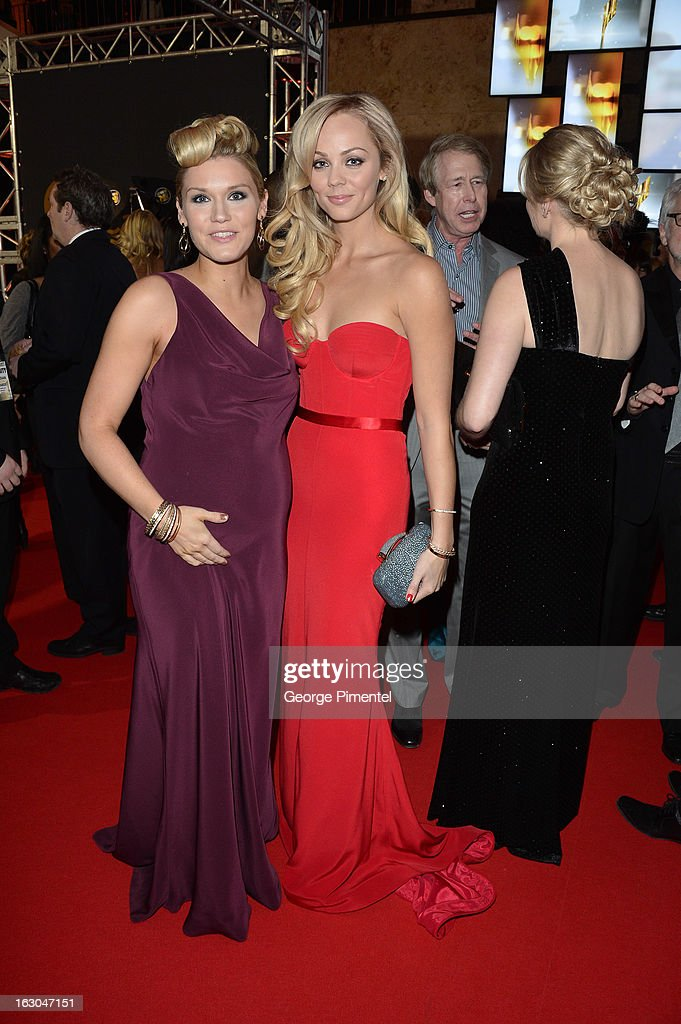 Actors Emily Rose and Laura Vandervoort arrive at the Canadian Screen Awards at the Sony Centre for the Performing Arts on March 3, 2013 in Toronto, Canada.