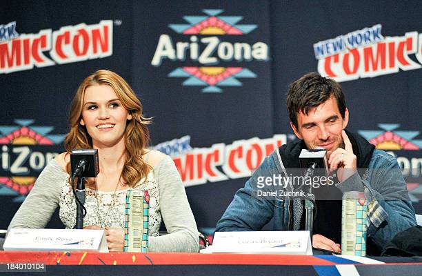 Actors Emily Rose and Lucas Bryant from Haven attend New York Comic Con 2013 at Jacob Javits Center on October 10 2013 in New York City