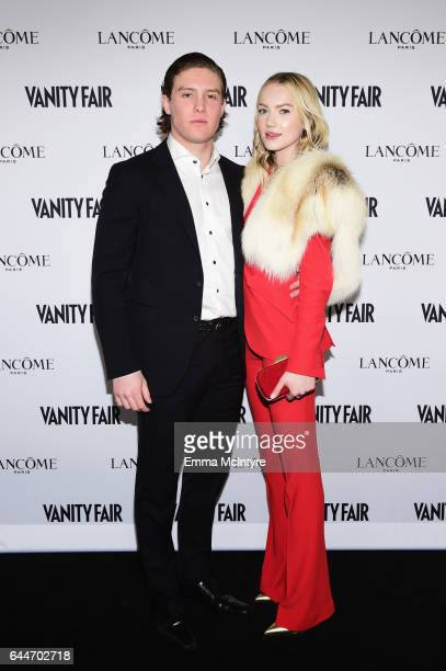 Actors Emily Ruhl and Miles Koules attend Vanity Fair and Lancome Toast to The Hollywood Issue at Chateau Marmont on February 23 2017 in Los Angeles...
