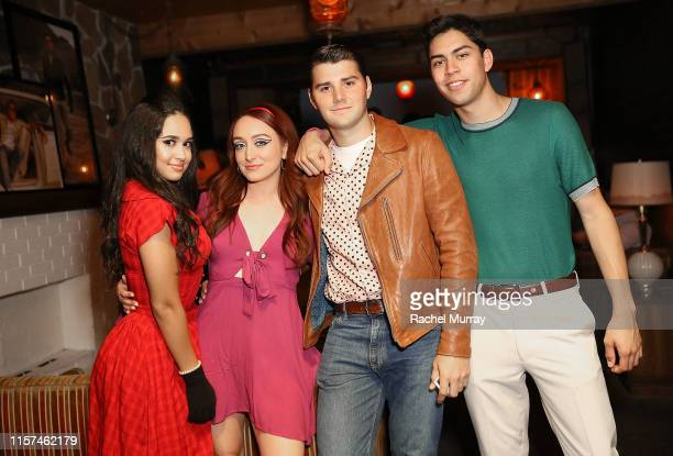 Actors Emily Tosta Angelina Marie Broyles JT Neal and Niko Guardado attend the Once Upon A Time In Hollywood 60's themed party on July 23 2019 in Los...