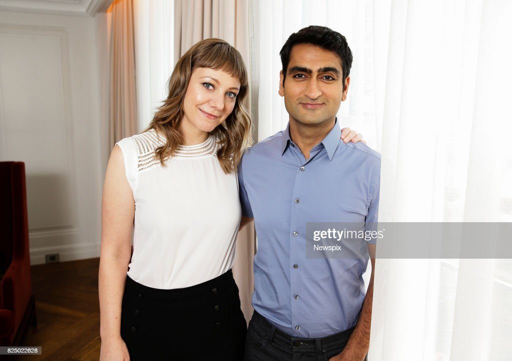 SYDNEY, NSW - (EUROPE AND AUSTRALASIA OUT) Actors Emily V. Gordon and Kumail Nanjiani pose during a photo shoot in Sydney, New South Wales.