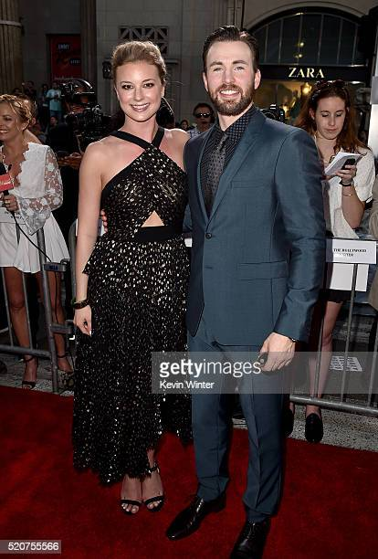 """Actors Emily VanCamp and Chris Evans attend the premiere of Marvel's """"Captain America: Civil War"""" at Dolby Theatre on April 12, 2016 in Los Angeles,..."""