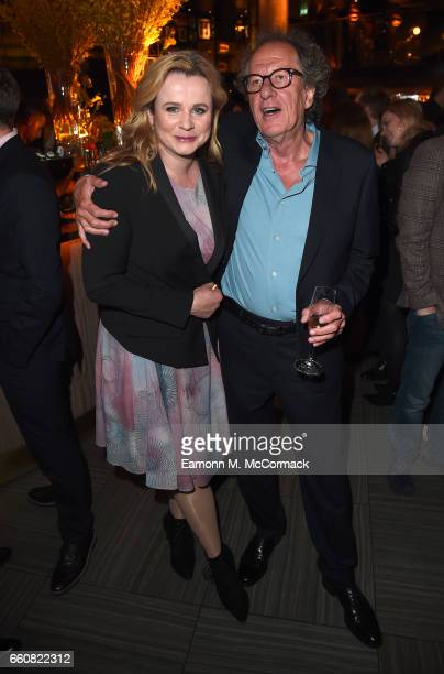 Actors Emily Watson and Geoffrey Rush attend a reception for the London Premiere Screening for National Geographic's Genius held at Quaglino's on...