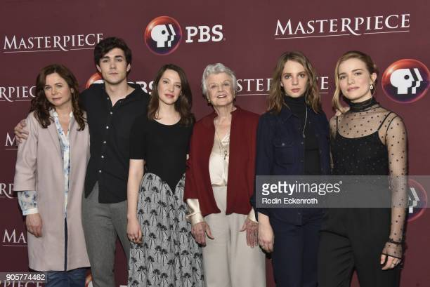 Actors Emily Watson Jonah HauerKing Annes Elwy Angela Lansbury Maya Hawke and Willa Fitzgerald attend photo call for BBC's Little Women at Langham...