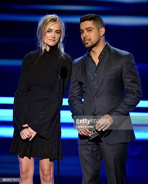Actors Emily Wickersham and Wilmer Valderrama speak onstage during the People's Choice Awards 2017 at Microsoft Theater on January 18 2017 in Los...