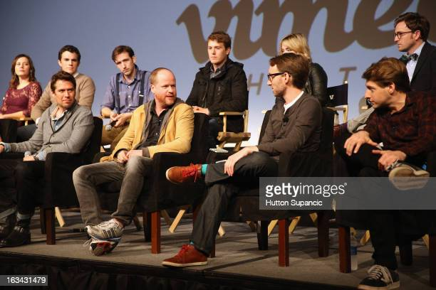 Actors Emma Bates Nick Kocher Brian McElhaney Spencer Treat Clark Ashley Johnson and Tom Lenk Actor Alexis Denisof writer/director Joss Whedon Adam B...