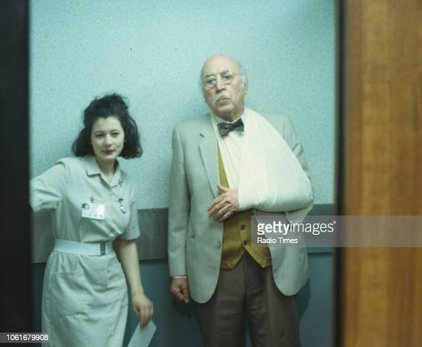 Actors Emma Bird and Lionel Jeffries in a scene from episode 'One Step Forward' of the BBC television series 'Casualty' May 6th 1992