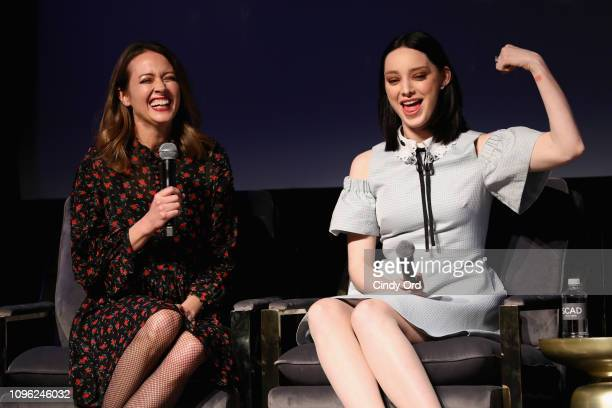 Actors Emma Dumont and Amy Acker speak onstage at 'The Gifted' screening during SCAD aTVfest 2019 at SCADshow on February 8 2019 in Atlanta Georgia