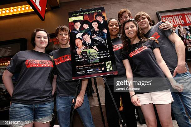 Actors Emma Hunton Blake Bashoff Lilli Cooper Kyle Riabko Alexandra Socha and Blake Daniel attend the 'Spring Awakening' cast member signing of...