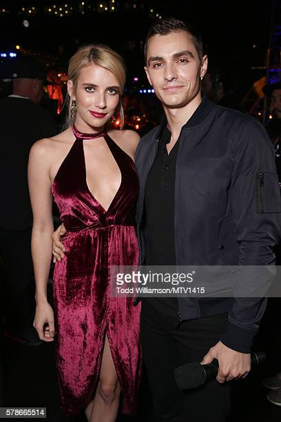 Actors Emma Roberts and Dave Franco pose backstage at the MTV Fandom Awards San Diego at PETCO Park on July 21 2016 in San Diego California
