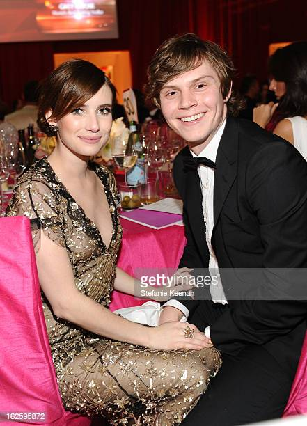 Actors Emma Roberts and Evan Peters attend Chopard at 21st Annual Elton John AIDS Foundation Academy Awards Viewing Party at West Hollywood Park on...