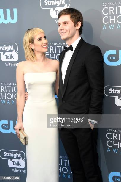 Actors Emma Roberts and Evan Peters attend The 23rd Annual Critics' Choice Awards at Barker Hangar on January 11 2018 in Santa Monica California