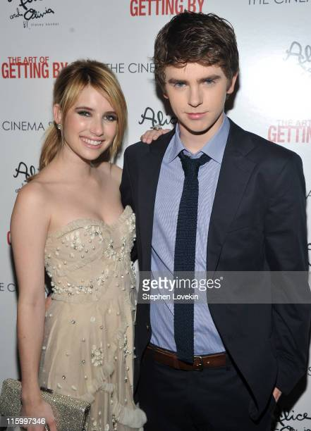 Actors Emma Roberts and Freddie Highmore attend the Cinema Society with AliceOlivia screening of 'The Art of Getting By' at Landmark Sunshine Cinema...