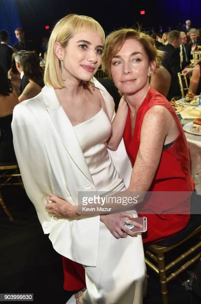 Actors Emma Roberts and Julianne Nicholson attend The 23rd Annual Critics' Choice Awards at Barker Hangar on January 11 2018 in Santa Monica...