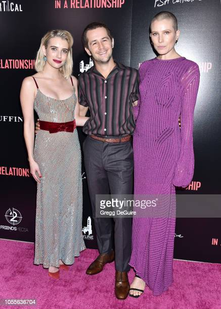Actors Emma Roberts Michael Angarano and Dree Hemingway arrive at the In a Relationship Premiere at The London Hotel on October 30 2018 in West...