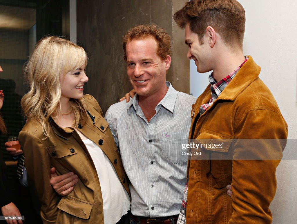 Actors Emma Stone, Adam James and Andrew Garfield attend the Opening Night Of The US Premiere Of 'BULL At Brits' Off Broadway After Party at 59E59 Theaters on May 2, 2013 in New York City.