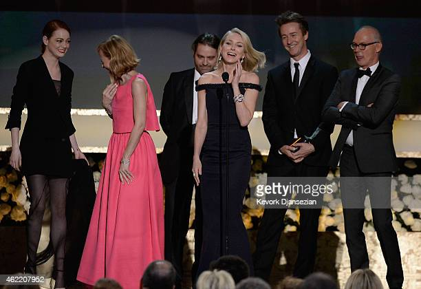 Actors Emma Stone, Amy Ryan, Zach Galifianakis, Naomi Watts, Edward Norton, and Michael Keaton accept the award for Outstanding Performance by a Cast...