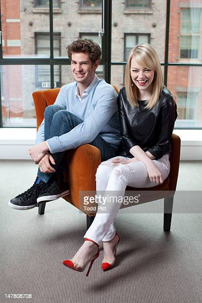 Actors Emma Stone and Andrew Garfield are photographed for USA Today on June 9 2012 in New York City