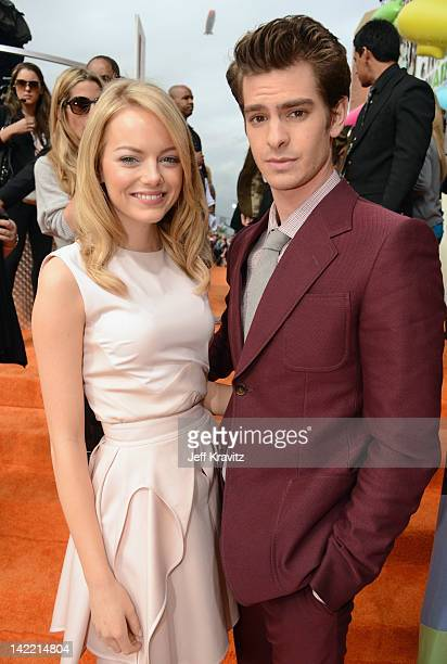 Actors Emma Stone and Andrew Garfield arrive at the 2012 Nickelodeon's Kids' Choice Awards at Galen Center on March 31 2012 in Los Angeles California