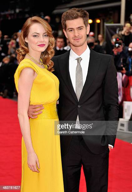 Actors Emma Stone and Andrew Garfield attend 'The Amazing SpiderMan 2' world premiere at the Odeon Leicester Square on April 10 2014 in London England