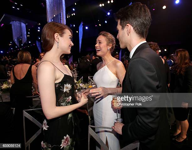 Actors Emma Stone and Brie Larson with Alex Greenwald during The 23rd Annual Screen Actors Guild Awards at The Shrine Auditorium on January 29 2017...