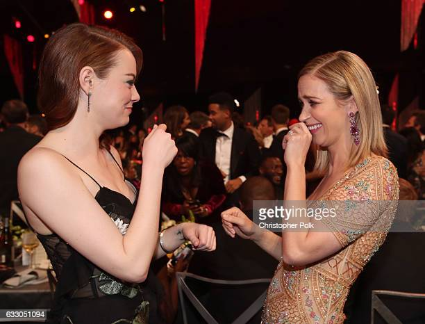 Actors Emma Stone and Emily Blunt during The 23rd Annual Screen Actors Guild Awards at The Shrine Auditorium on January 29 2017 in Los Angeles...