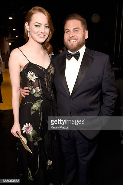 Actors Emma Stone and Jonah Hill pose backstage during The 23rd Annual Screen Actors Guild Awards at The Shrine Auditorium on January 29 2017 in Los...