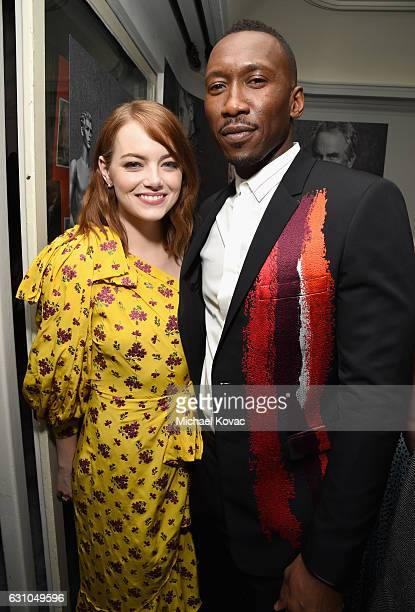 Actors Emma Stone and Mahershala Ali attend W Magazine Celebrates the Best Performances Portfolio and the Golden Globes with Audi and Moet Chandon at...
