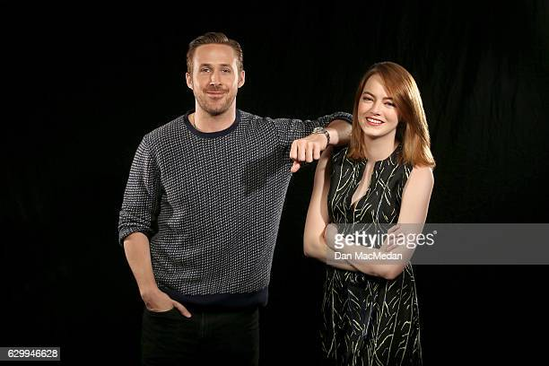 Actors Emma Stone and Ryan Gosling are photographed for USA Today on December 6 2016 in Los Angeles California