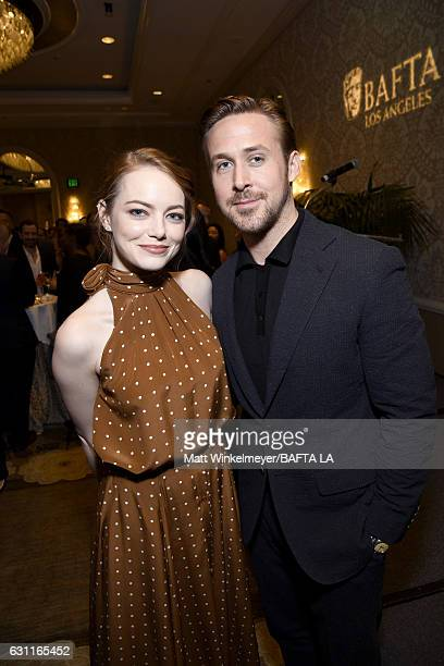 Actors Emma Stone and Ryan Gosling attend The BAFTA Tea Party at Four Seasons Hotel Los Angeles at Beverly Hills on January 7 2017 in Los Angeles...