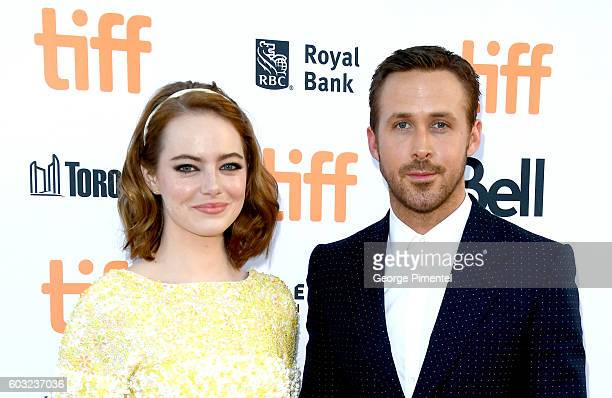Actors Emma Stone and Ryan Gosling attend the La La Land premiere during the 2016 Toronto International Film Festival at Princess of Wales Theatre on...