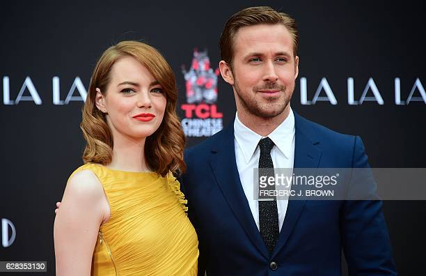 Actors Emma Stone and Ryan Gosling pose at their Hand and Foot prints ceremony in front of the TCL Chinese Theater in Hollywood on December 7 2016...