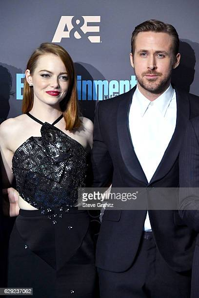 Actors Emma Stone and Ryan Gosling pose in the press room after winning the award for Best Picture for the film 'La La Land' during The 22nd Annual...