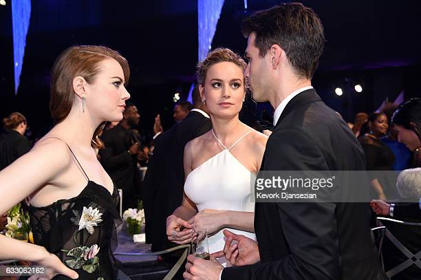 Actors Emma Stone Brie Larson and Alex Greenwald attend the 23rd Annual Screen Actors Guild Awards at The Shrine Expo Hall on January 29 2017 in Los...