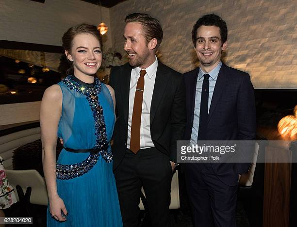 Actors Emma Stone Ryan Gosling and director Damien Chazelle attend the after party of Lionsgate's 'La La Land' on December 6 2016 in Westwood...