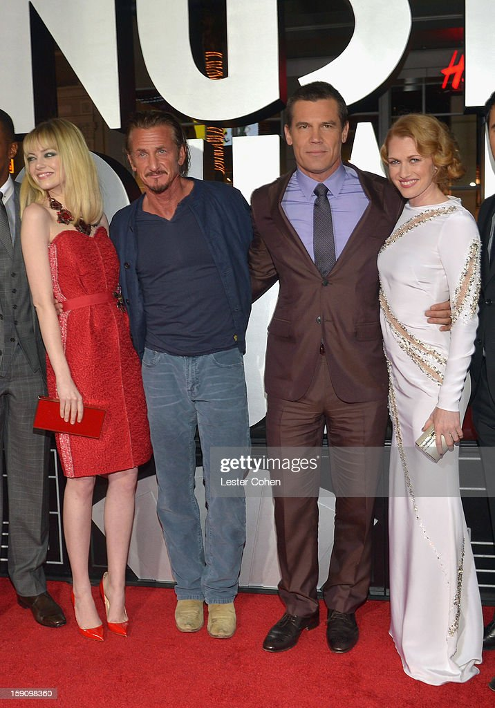 Actors Emma Stone, Sean Penn, Josh Brolin and Mireille Enos arrive at the 'Gangster Squad' premiere at Grauman's Chinese Theatre on January 7, 2013 in Hollywood, California.