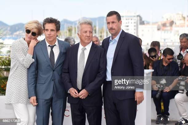 Actors Emma Thompson actors Ben Stiller Dustin Hoffman and Adam Sandler attend The Meyerowitz Stories photocall during the 70th annual Cannes Film...