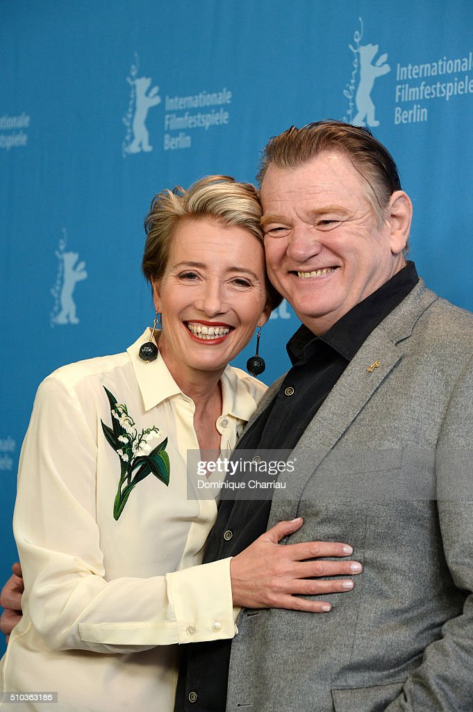 Actors Emma Thompson and Brendan Gleeson attend the 'Alone in Berlin' (Jeder stirbt fuer sich) photo call during the 66th Berlinale International Film Festival Berlin at Grand Hyatt Hotel on February 15, 2016 in Berlin, Germany.