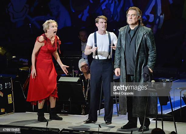 Actors Emma Thompson and Bryn Terfel perform at the 2014 The New York Philharmonic Spring Gala featuring Sweeney Todd The Demon Barber of Fleet...