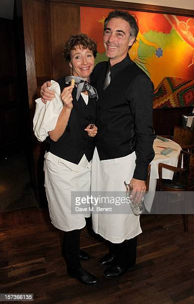Actors Emma Thompson and Greg Wise working as waiters attend One Night Only at The Ivy featuring 30 stage and screen actors working as staff during...