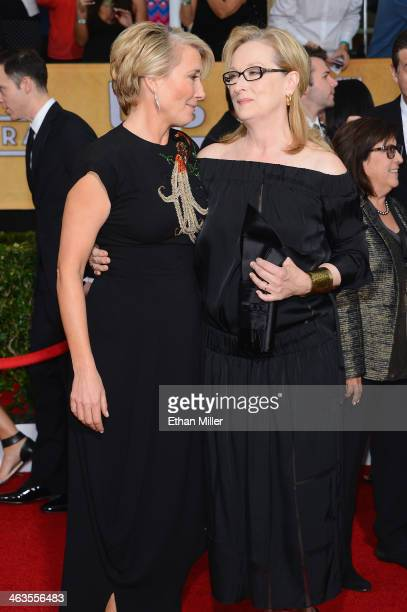 Actors Emma Thompson and Meryl Streep attend the 20th Annual Screen Actors Guild Awards at The Shrine Auditorium on January 18 2014 in Los Angeles...
