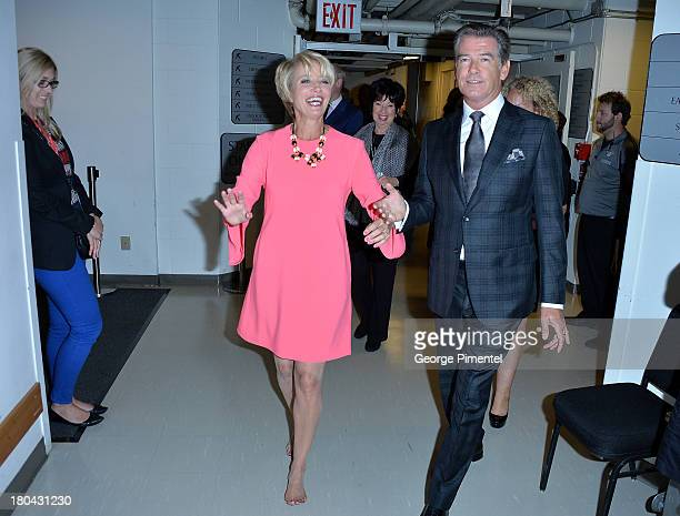 Actors Emma Thompson and Pierce Brosnan arrive at Love Punch Premiere during the 2013 Toronto International Film Festival at Roy Thomson Hall on...
