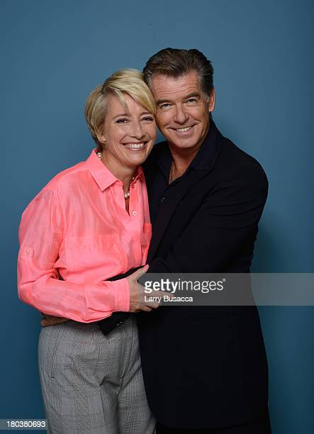 Actors Emma Thompson and Pierce Brosnan of 'Love Punch' pose at the Guess Portrait Studio during 2013 Toronto International Film Festival on...