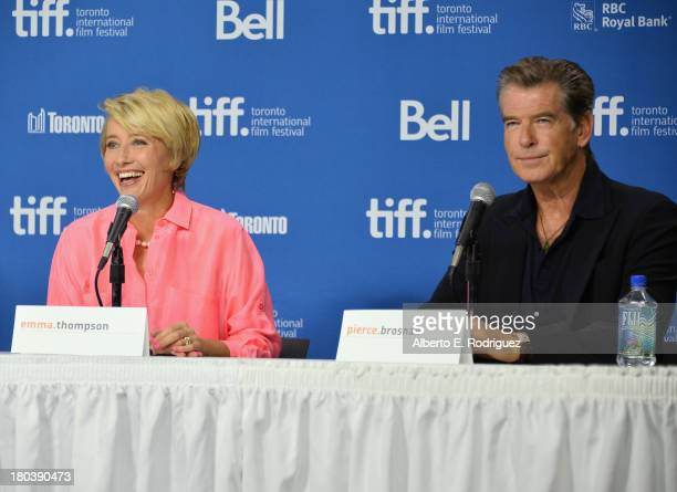Actors Emma Thompson and Pierce Brosnan speak onstage 'The Love Punch' Press Conference during the 2013 Toronto International Film Festival at TIFF...