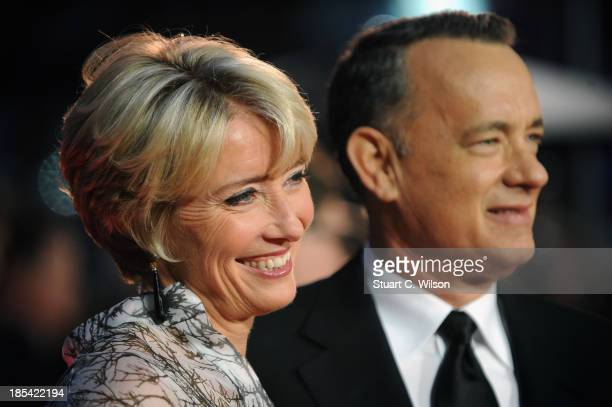 Actors Emma Thompson and Tom Hanks attend the Closing Night Gala European Premiere of Saving Mr Banks during the 57th BFI London Film Festival at...